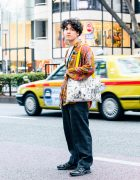 [Do Not Post]Vintage Casual Street Style w/ Undercover Shirt, Vintage Printed Long Sleeves, Vintage Plaid Pants, Salomon Shoes, Lucky Daikichi Manga Tote Bag, Leather Crossbody Bag & Judy Blume Earring