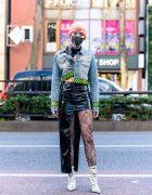 Harajuku Street Style w/ Black Mask, Silver Chains, Beanie, Man G Denim Jacket, Faux Leather Skirt, Pinnap, VidaKush & Dolls Kill Dollar Bill Boots