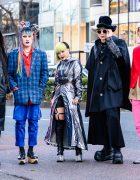 Harajuku Squad Styles w/ Cradle of Filth Tee, Multicolored Braided Buns, Vivienne Westwood, Dolls Kill Cyberpunk Fashion, Anrealage, LAD Musician, Demonia, Gosha Rubchinskiy x Adidas Pants & Saint Laurent Boots