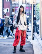 Harajuku Street Style w/ Vintage Brooches, Seivson Cutout Hoodie Sweater, Nodress, Vintage Fashion & Open The Door Boots