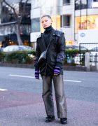 Harajuku Hair Stylist w/ Shoulder Shields, Pinstripe Pants, Maison Margiela, Vivienne Westwood Sling, Dr. Martens Loafers & Resale Fashion