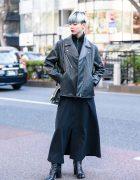 Chic Minimalist Japanese Street Fashion w/ Silver Blue Bob, Motorcycle Jacket, Yohji Yamamoto Dress & Maison Margiela Tabi Boots