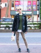 Harajuku Model's Style w/ Blonde Bob, Miu Miu Sunglasses,  X-Girl Suede Jacket, Cheap Monday Skinny Leopard Pants, Shrimps Bag & Carel Pumps
