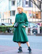 Japanese Model in Minimalist Street Style w/ Murua Belted Coat, Zara Faux Leather Dress, Coach Bag & Dr. Martens Boots