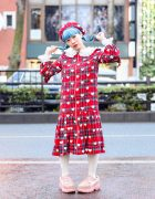 Tempura Kidz Karin in Kawaii HEIHEI Harajuku Fashion w/ Blue Twin Braids, Plaid Beret, Heart Print Dress, Tights & Buffalo x Puma Sneakers