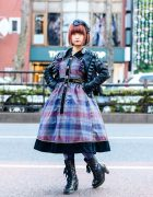 Japanese Lolita Streetwear in Harajuku w/ Bob Hairstyle, Bow Headband, MR Closet Ruffle Jacket, Triple Fortune Plaid Dress, Graphic Tights & Dr. Martens