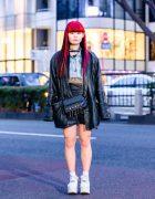Tokyo Leather Jacket Street Style w/ Red & Black Hair, Skeleton Hands Choker, Denim Vest, Crossbody Bag & Yosuke Platforms