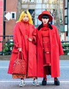 All Red Tokyo Street Styles w/ Wide Brim Hat, Comme des Garcons, Paul Smith, Issey Miyake Bao Bao, Tokyo Bopper, Vintage & Handmade Fashion