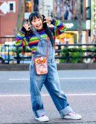 Japanese Child Actress in X-Girl Harajuku Street Style, Rainbow Sweater, Denim Overalls, Samantha Thavasa Peko-chan Bag & FILA Sneakers