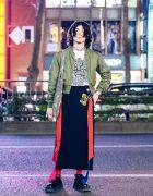Tokyo Street Style w/ Rhinestone Earpiece, M.Y.O.B. Bomber Jacket, Christopher Nemeth, Sacai Asymmetric Skirt, Rope Print Tote & Eytys Chunky Sneakers
