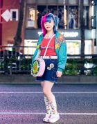 Colorful Casual Streetwear Style w/ Half Color Hair, Butterfly Necklace, Chicago, Angel Blue Denim Skirt, Little Sunny Bite Kermit The Frog Bag, Butterfly Fall Vintage & Nike
