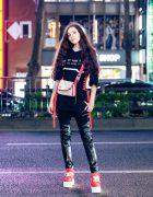 Black & Red Streetwear Look in Harajuku w/ Long Curly Hair, 3/4 Sleeve Corset Top, Skinny Leather Pants, Crossbody Bag & Platform Sneakers