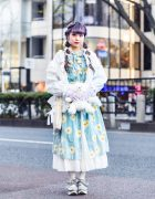Tokyo Girl Street Style w/ Purple Twin Tails, Paris Kids Tiara, Daisy Dress, Baby Lone, WEGO Teddy Bear & Tokyo Bopper