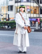 All White Vintage Fashion in Harajuku w/ Green Hair, Belted Coat, Embroidered Shirt, Khaki Pants, Gucci & Toga Strappy Flats
