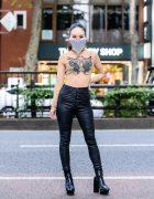 Tokyo Girl Street Style w/ Chainmail Mask, I.Am.Gia Sheer Snake Top, 24h Party Snakeskin Pants, Juemi & Envym Platform Booties