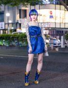 Tokyo Streetwear Style w/ Colorful Hairstyle, Vintage Bead Earrings, X-Girl Dress, MYOB Tattoo Shirt, UN3D Tote & Yello Cowboy Boots