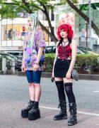 Tokyo Cyber Fashion x Black & Red Streetwear w/ Braids, Black Lipstick, Remake Handkerchief Top, Cyber Dog Shirt, Tripp NYC, Denim Skirt, Crossbody Bag & New Rock Boots