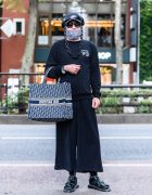 All Black Designer Street Style w/ Adidas Cap, Chanel Sunglasses, Gucci Chains, Y-3, Christian Dior Bag & Dr. Martens Patent Sandals