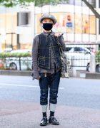 Christopher Nemeth Menswear Street Style w/ Rope Print Newsboy Cap, Vest, Ruffled Shirt, Cuffed Pants, Rope Bag & Leather Shoes