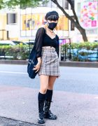 Summer Japanese Street Style w/ Two-Tone Hairstyle, Beret, Chanel Earrings, Sheer Crop Top, Plaid Skirt, Canvas Tote & Lace-Up Boots