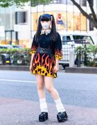 Twin Tails, Leg Warmers & Flames Harajuku Street Style w/ Beats by Dre Headphones, Never Mind the XU & Demonia Platforms