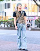 Casual Mens Streetwear Style w/  Vivienne Westwood Orb Earring, H&M Leopard Print Vest, Coach Crossbody Bag & Pointy Boots