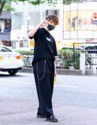 Harajuku All Black Streetwear w/ Face Mask, FR2 Smoking Kills Shirt, Trousers & Dr. Martens Shoes