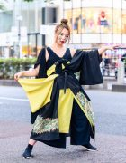 Vintage Kimono Japanese Street Style w/ Bamboo Makeup, Wide Leg Pants & Skechers Sneakers