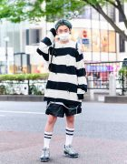 HarajukuFashion w/ Green Hair, Faith Tokyo Oversized Striped Sweater, Zara Leather Shorts, Nike VaporMax Sneakers, WEGO Leather Drawstring Backpack & Faith Tokyo Pendant Necklace