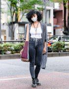 Harajuku Dancer Street Style w/ Cardigan, Skinny Jeans, Mossimo Multi-Print Bag & Dr. Martens Boots