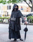 Dark Tokyo Gothic Street Style w/ Atelier BOZ Hooded Cape, Moi-Meme-Moitie Asymmetric Skirt, Ruffle Umbrella & Dress Shoes