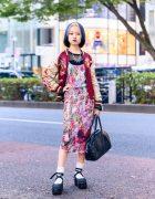 Gauntlett Cheng Print Dress w/ Vintage Sukajan Jacket, Comme Des Garcons, New York Joe & Vivienne Westwood Bag