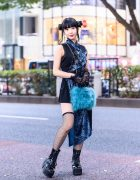 Harajuku Style w/ Twin Buns, Qutie Frash Dress, Kobinai Bag, Platform Boots & Lace Gloves