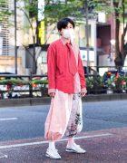 Half Print Menswear Street Style in Tokyo w/ Face Mask, Hoop Earrings, Beams Shirt, Remake Kimono Pants, Resale Necktie & Metallic Sneakers