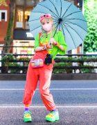 Kawaii Harajuku Street Style w/ Yarn Hair Falls, Mask, Umbrella, Resale, Cuffed Overalls, Claire's Camera Bag & Yosuke Platforms