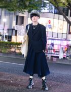 Comme des Garcons Harajuku Menswear Street Style w/ Fedora Hat, Lock Necklace, Pinstripe Blazer, Asymmetric Skirt, Anrealage Oversized Tote & Dr. Martens Boots