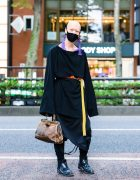 All Black Japanese Streetwear Style w/ Bizenart Mask, Industrial Piercing, Tassel Earrings, Balenciaga, Yohji Yamamoto, Mixdo Strap Pants + Skirt Panel, Vintage Doctor Bag & Loake Chelsea Boots
