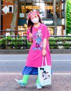 Cartoon Artist w/ Pink Hair in San To Nibun No Ichi Shirt, Resale Polka Dot Skirt, Light Blue Sneakers, Leg Warmers & 6%DOKIDOKI Accessorie