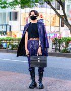 Tokyo Menswear w/ Single Horn Earring, Vintage Knuckle Rings, Purple Snakeskin Leather Suit, Jean Paul Gaultier Satchel Bag & Yosuke Boots