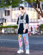 Graphic Art Work Jeans Street Style w/ Uniqlo Billie Eilish Shirt, Zippered Vest, Aloa Sailor Moon Graphic Art Denim Jeans, Juun J Sneakers & Never Mind The XU Accessories