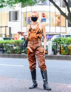 Y/Project Cutout Pants Japanese Male Model Style w/ Tie Dye Bodysuit, Telfar Bag, Vintage Tall Boots, Chain Choker
