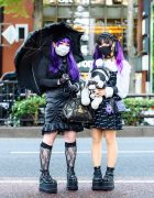 Harajuku Girls Street Goth Styles w/ Purple Hair, Teddy Bear, Morph8ne, Killstar, Vivienne Westwood, Never Mind the XU & Yosuke Caged Platforms