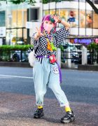 Harajuku Decora Girl in Rainbow Yarn Braids, Kinji, Milky Peco-chan Neck Wallet, Checkered Shirt, Listen Flavor Drop Crotch Jeans, Tiger Backpack, Yosuke USA & Handmade Accessories