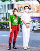 Tokyo Students' Street Style w/ Resale Elf Print Shirt, Hare Pants, John Lawrence Sullivan Boots, Stussy Bandana, Fred Perry Collared Shirt, Dickie's White Pants & Clarks Shoes