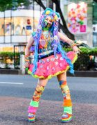 That Rainbow Chick Designer in Tokyo w/ Ombre Hair Piece, Inked Doll Cosmetics, Dangamushi Headpiece, ACDC Rag, WEGO Fanny Pack & YRU Platform Rainbow Sneakers