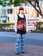 Japanese Student w/ Pageboy Hair in Plaid Cap, Rebel Eight Tank Top, Net Sleeves Shirt, Hysteric Glamour Patchwork Jeans, (ME) Harajuku, RNA British Flag Bag & Zara