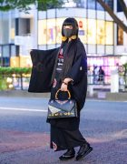 Modern Japanese Kimono Streetwear Style w/  Lace Face Mask, Handmade Earrings, Gucci Bamboo Handle Bag & Geta/Zori Sandals