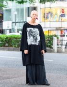 Japanese Oversized Menswear Style w/ Nomad Goba Shirt, Kujaku Wide Pants, Kenzo, Officialp Flower Earrings & Loake Boots