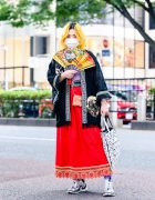 Sushi Shop Staffer's Eclectic Street Style w/ Yellow Hair, Painted Fan, Remake Kimono, Handmade Maxi Skirt, Resale Fashion, Issey Miyake Bao Bao Bag & Pierre Hardy Vibe Sneakers