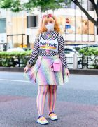 Kawaii Rainbow Streetwear Style w/ Cyber Hair Falls, Dripping Rainbow Eye Makeup, Perler Bead Necklace, Polaroid Cropped Top, Rainbow Fishnets, Current Mood Butterfly Backpack & Yoki Sneakers